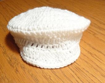 Infant Crochet Pattern for Newsboy Hat with Visor