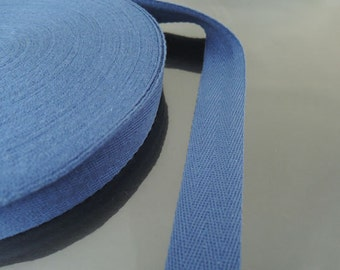 "Blue Cotton Twill Tape 1"" or 1/2""- D Smoke Blue Herringbone Cotton Twill Tape CT146 ( 25mm 1 inch ) or ( 13mm 1/2 inch )"