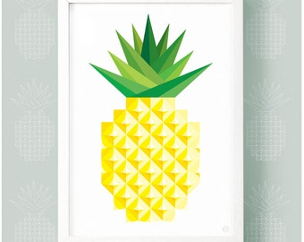 Geometric Graphic Pineapple Print