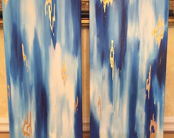 SOLD! Original set of 2 abstract acrylic painting with blues, white, gold, and glitter