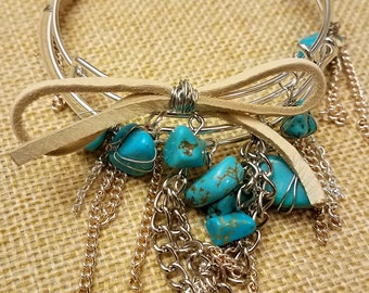 Set of 2! Silver Turquoise Stone Bead Mixed Media Wire Wrapped Bangle Bracelet Boho Chic Style