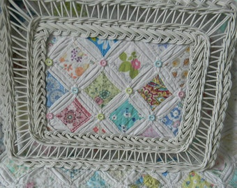 White Wicker Framed Vintage Cathedral Window Quilt Piece, Vintage Quilt Wall Art, Nursery Decor, Home Decor, Farmhouse Decor,