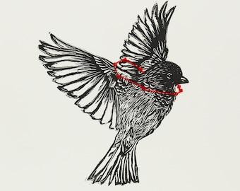 House sparrow lino print