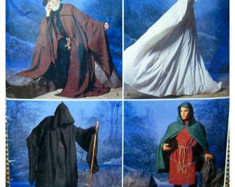 Hooded Cloak Pattern, Cape, Bell Sleeve, Pointed Hat, Tunic, Cosplay Costume, Wizard - Simplicity 0811 / 0614 UNCUT Adult Size XS S M L XL