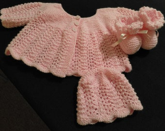 Babies Pink Jacket, Beanie and Booties
