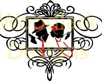 JPG Wedding Silhouette Couple Pose 6 Art Deco & Great Gatsby  - Instant Download JPEG