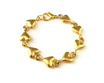 Vintage Gold Tone Puffed Heart Chain Link Bracelet