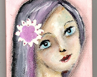 Haley, 3x4 inch Mini Original Painting, Small Work, Girl Portrait Painting, Woman's Face, Blue Hair, Brown Eyes, Flower in Hair