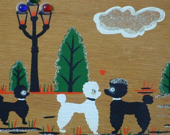 Adorable Vintage 50s 60s Novelty Wooden Box Bag with Poodle Scene Enid Collins Style