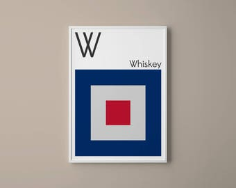 Letter W // International Maritime Signal Flags // Navy Flag Letter // W for Whiskey // Nautical Art // Typography Art // Phonetic Alphabet