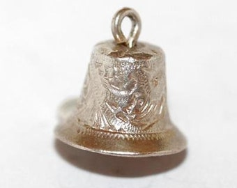 Vintage Wedding Anniversary Bell Sterling Silver Bracelet Charm / Detailed