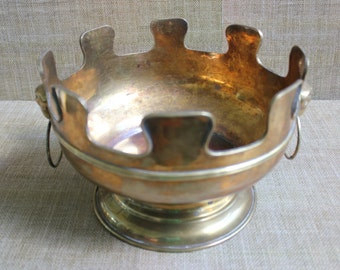 Large Brass Bowl with Ring Handles--Vintage Regency Style Brass Bowl