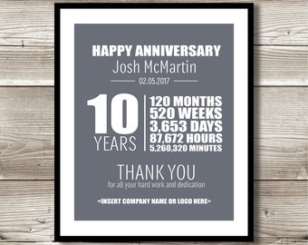 10 Year Work Anniversary Print; gift; digital print; customizable; thank you gift; years of service; employee recognition