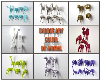 MIX SET of 24 animal magnet pieces (12 whole animals) - Baby Shower favor - You pick color and animals