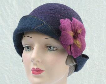 Reversible Cloche Hat in Navy and Eggplant Wool Felt w/Removable Flower Pin - Flower Cloche - Wool Felt Hat - Wool Cloche