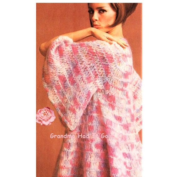 Vintage Crochet Cotton Candy Sweater Coat Knitting Pattern Pdf
