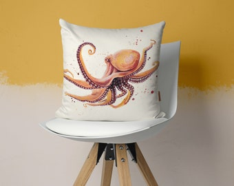 Pillow with octopus, watercolor motif, hand sewn, 50 x 50 cm, with individualized back, gift idea
