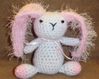 Pink and White Crocheted Bunny