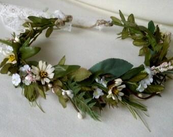 Ivy Vine Hair Wreath Greenery Renaissance Headdress rustic woodland -Juniper- earthy artificial FlowerCrown wedding accessories bridal halo
