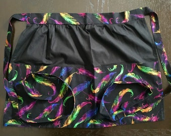 Colorful Feather Print Apron