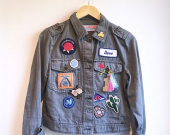 """80's Style Grey Patched """"Dave"""" Jacket"""