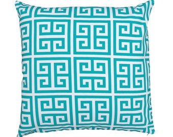 Turquoise and White Geometric Greek Key Outdoor Cushion Cover