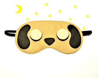 Sleep mask Dog felt brown Pajamas Spa night sleep wedding party favors soft traveling eye sleeping accessory - Gift for girl kids her him