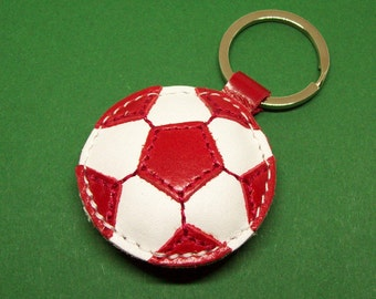 Red Soccer Ball Keychain - Leather Football Keychain - FREE Shipping Worldwide - Red Soccer Leather Bag Charm