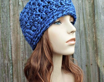 Acai Deep Blue and Black Beanie Blue and Black Hat - Crochet Womens Hat Mens Hat - Blue Hat Blue Beanie Warm Winter Hat - READY TO SHIP
