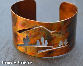 Copper Cuff Bracelet with Cut Out Mountain Scene, Flame Painted, Clear Coat, Original Design