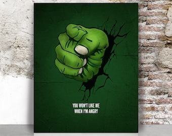 Hulk poster, Hulk fist art print, Avengers print, Superhero wall art, Marvel poster Comic art, Home Decor Gift for men FamouStars