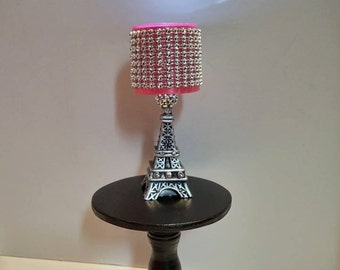 Doll Lamp - LED Fashion Doll Lamp - Paris Eiffel Tower Lamp Pink Bling Shade