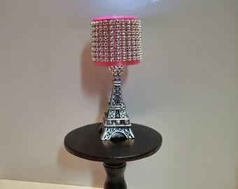 Doll Lamp   LED Fashion Doll Lamp   Paris Eiffel Tower Lamp Pink Bling Shade
