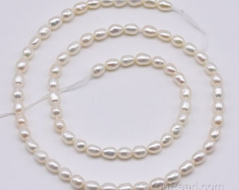 3.5-4mm AA pearl seed beads, genuine freshwater rice pearls, natural white oval small pearl beads on sale, high quality tiny pearls FS800-WS