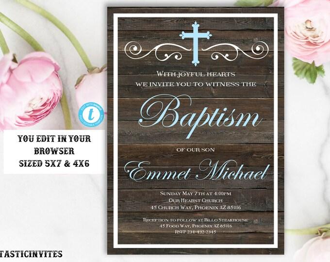 Baptism Invitation Boy, Baptism Invitation Printable, Boy Baptism Invitation, Printable Baptism Invitation, Invite Boy, INSTANT DOWNLOAD