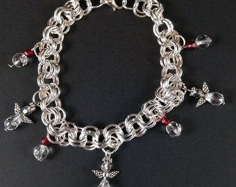 Angel charm bracelet with dangling beads