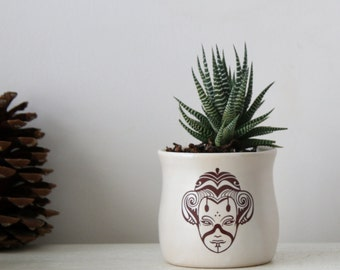 White ceramic planter, Succulent planter, Japanese ceramic cup, Ceramic plant pot, Home decor, Hand decorated, Ceramic Pots