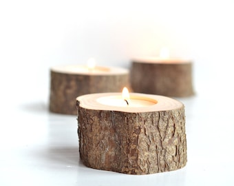 10 Rustic candle holders, Wood candle holder, Tea light holder, Rustic wedding decor, Country wedding, Tree branch decor, Wooden home decor