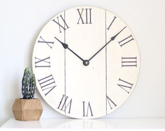 Wall clock. White clock. Rustic wall clock. Wood clock.- Gift for her
