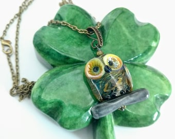 Beautiful Lampwork Owl Bead Necklace, Glass Owl Bead Pendant, Owl and Branch Nature Necklace, Handmade Glass Bead Necklace in Antique Bronze