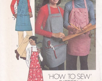 FREE US SHIP Simplicity 7254 Vintage Retro 1970's 70's Simple To Sew Apron Men Miss Uncut Factory Folded