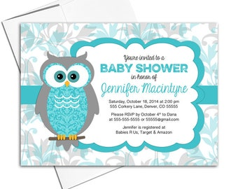 owl baby shower invitation gender neutral, woodland baby shower invites, teal and gray - PRINTED - WLP00730