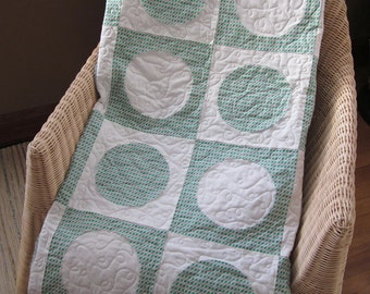 Circles and Squares Lap Quilt, Green. white and purple