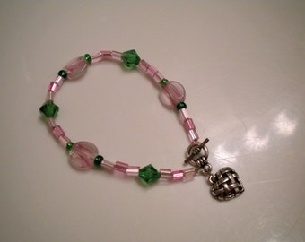 Loving Heart Pink and Green Bracelet