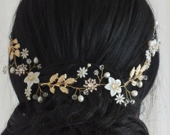 Louisa - Mother Pearl Flower, Rhinestone Flower, Freshwater Pearl and Gold Leaves Bridal Tiara, Headband