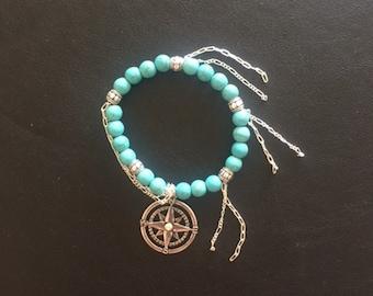 Turquoise Silver Compass Charm Bracelet