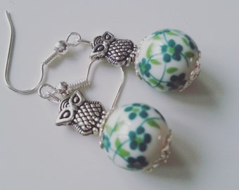 Teal, lime and white, flower, OWL, earrings, silver owl, ceramic, porcelain, floral, by NewellsJewels on etsy