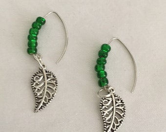 Green Silver Leaf Earrings