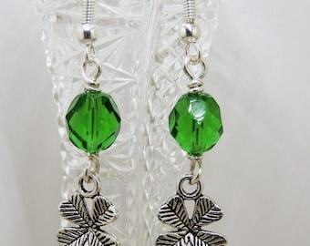 Four Leaf Clover earrings Good Luck St Patrick's Day Shamrock