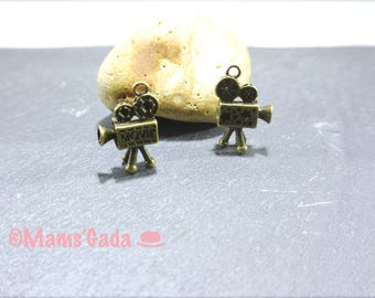 Set of 2 charms, pendants, charms 26x15mm color Bronze REF:B 3D Camera Video Theatre / 27